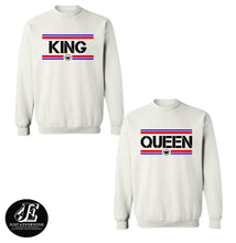 Load image into Gallery viewer, King Queen Sweatshirts, King Queen, Matching Sweatshirts, Couple Sweatshirts, King Queen Sweaters, King Queen Pullover, Matching Outfits