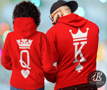 Load image into Gallery viewer, King and Queen, King Queen Hoodies, Couple Hoodies, King Queen Sweatshirts, Couples Hoodies, Matching Funny Couple Hoodies, King And Queen
