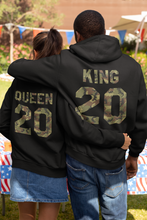 Load image into Gallery viewer, King and Queen Hoodie, King Queen Hoodie, King Queen Sweaters, Custom Numer, Couples Hoodie, Couple Sweaters, Custom Hoodie, King And Queen