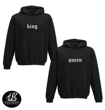 Load image into Gallery viewer, King Queen, King Queen Hoodies, , Couple Hoodies, Couple Sweaters, Couple Hoodie, King Queen Sweatshirts, Matching Hoodies, Valenine's Day
