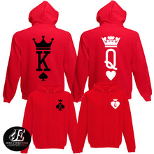 Load image into Gallery viewer, King Queen Hoodies, Set of King & Queen, Couples Sweatshirts, King Queen Sweaters, King Queen Hoodie, Couple Hoodies, Matching Couples