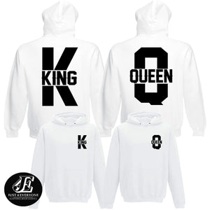 King Queen, King Queen Hoodies, Set of King & Queen, Pärchen Pullover, Couple Sweatshirts