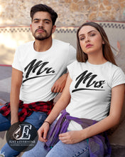 Load image into Gallery viewer, Mr and Mrs Shirts, Couples Shirts, Mr Mrs Shirt Set, His and Her Shirts, Honeymoon Shirts, Wedding Shirts, Mr Mrs T-shirts, Wife Hubs Shirts