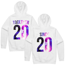 Load image into Gallery viewer, Together Since Hoodies, Together Since Sweatshirts, Couples Hoodies, Personalized Number, Matching Hoodies, Custom Number, Couple Hoodies
