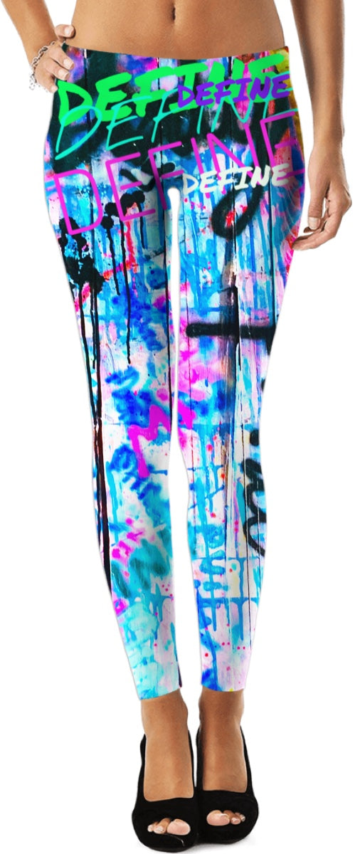 "SouthPawbyNM ~ Define ""body & mind"" Graffiti Leggings"