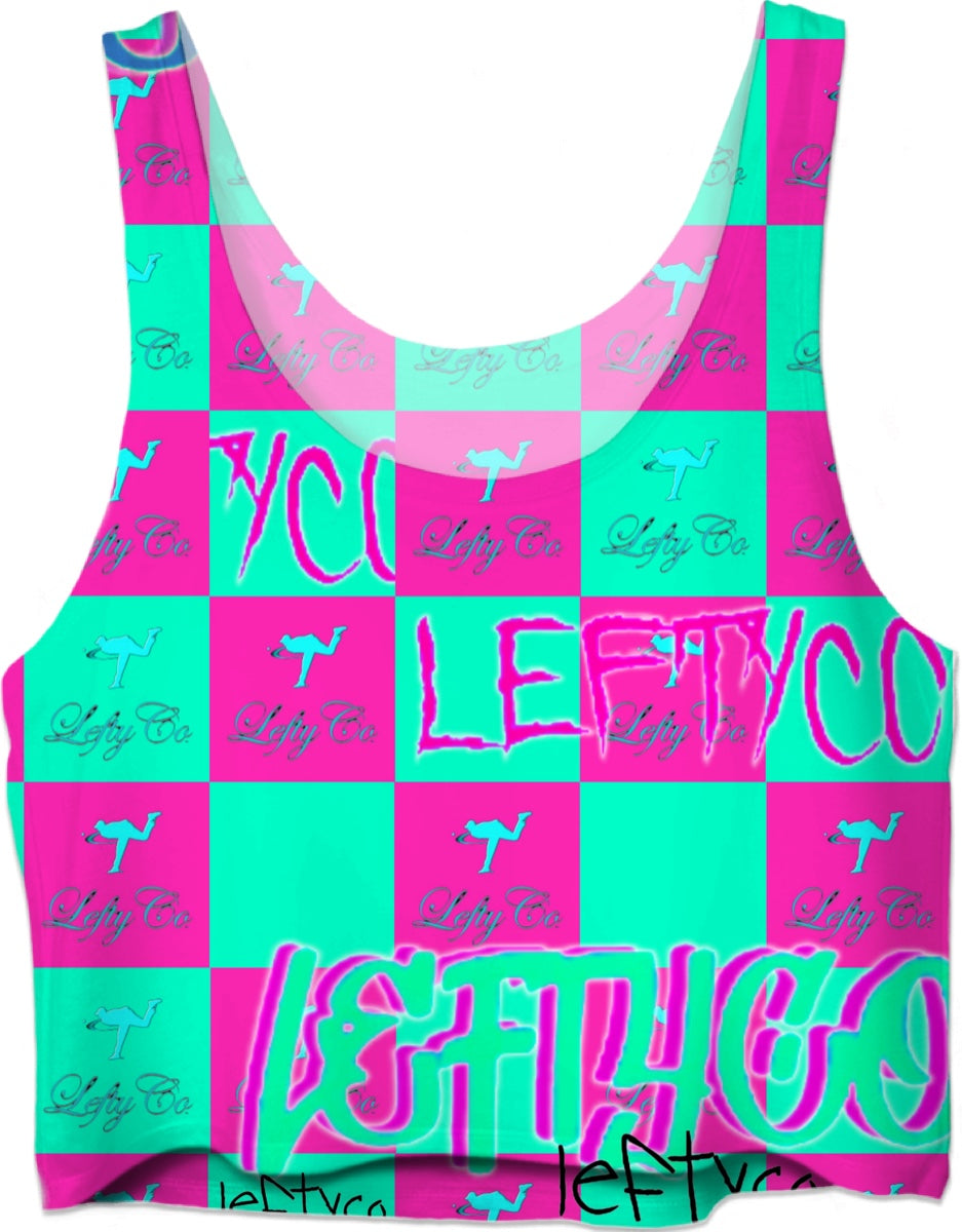 "LEFTYCO - ""Green Pink Checkers"" Crop Top - leftyco"