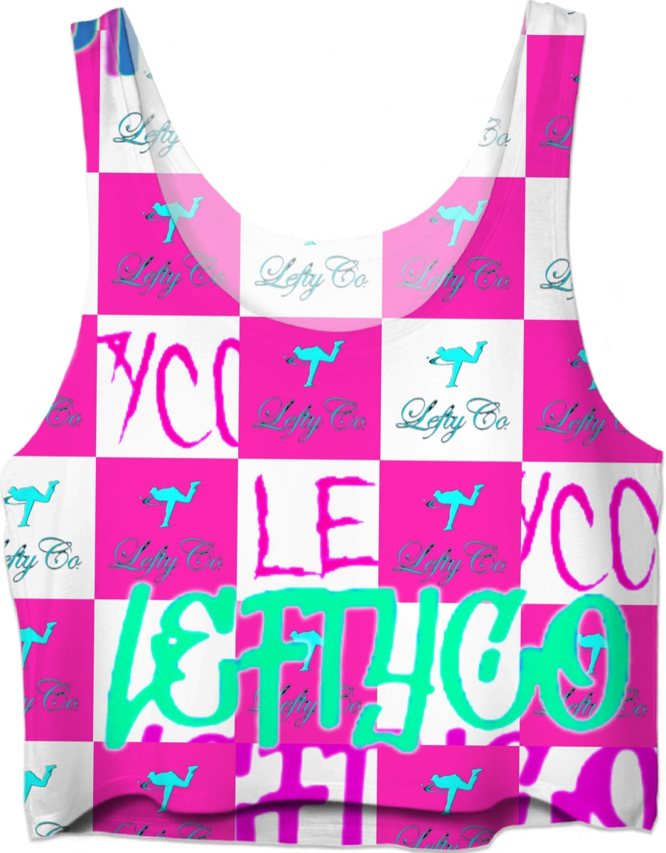 "LEFTYCO - ""White Pink Checkers"" Crop Top - leftyco"