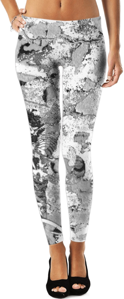 LeftyCo ~ CONCRETE GRAFFITI COLLECTION white/black leggings - leftyco