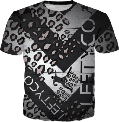 LEFTYCO ~ SMOKEE GREY LEOPARD CENTER PLATE t-shirt
