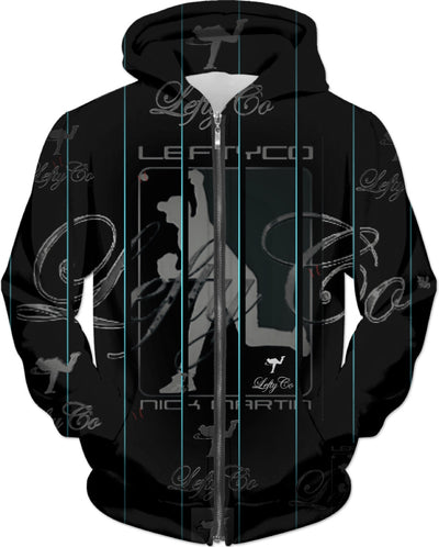 LEFTYCO ~ BLACK/TEAL PINSTRIPES hoody