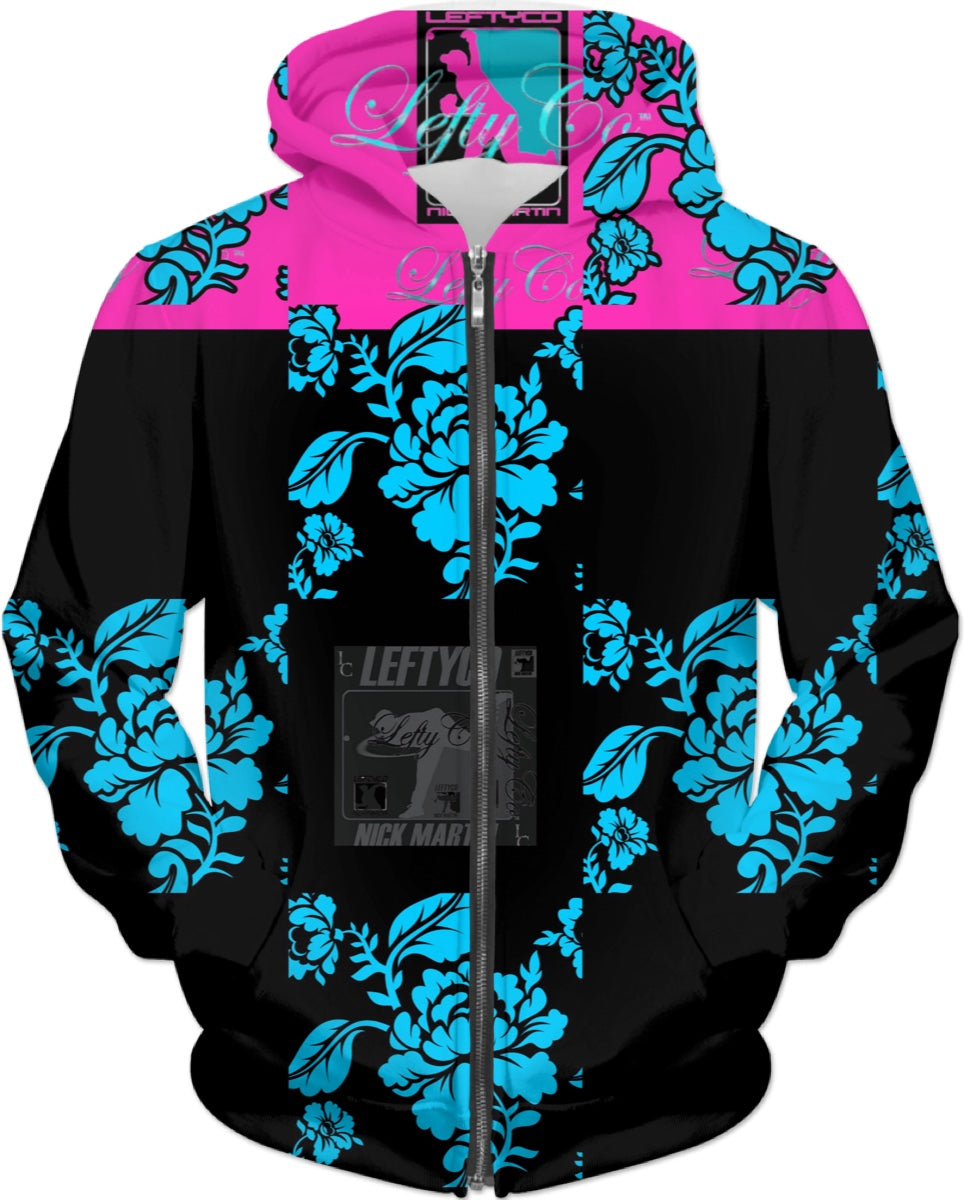 LEFTYCO ~ Black Blue Pink Floral hooded sweatshirt