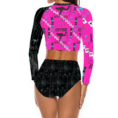 LeftyCo - 812 Long Sleeve Tankini Two Pieces Rash Guard Swimsuits - leftyco