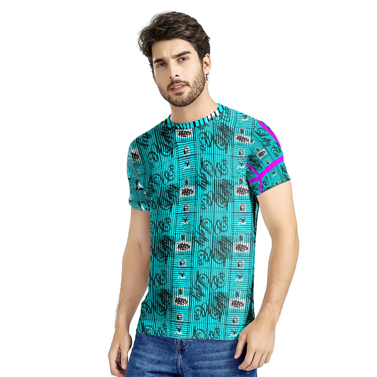 LeftyCo - 812 Electric Teal/Black Pinstripes T-shirt - leftyco