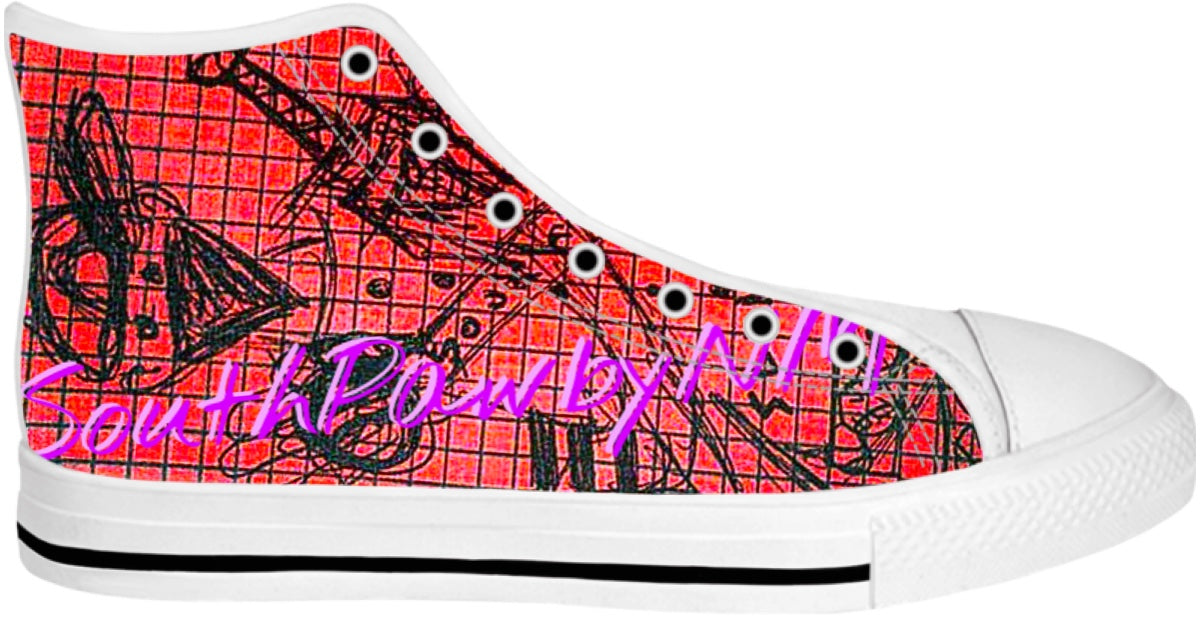 "LEFTYCO ~ ""Sling'n SouthPaw"" hi top fashion sneakers"