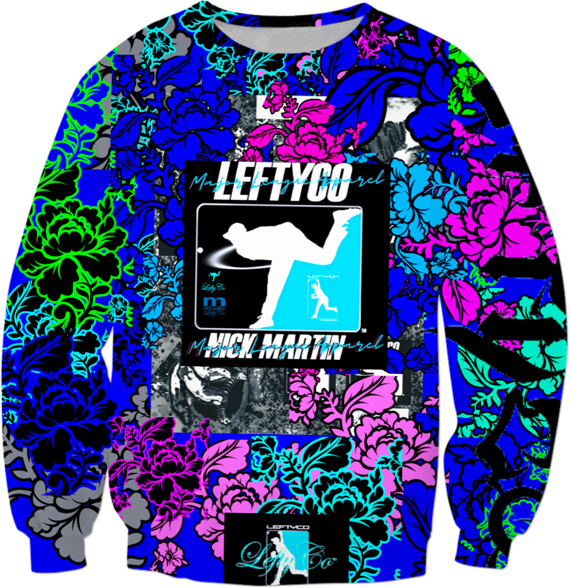 LEFTYCO ~ Major League Floral Pattern sweatshirt