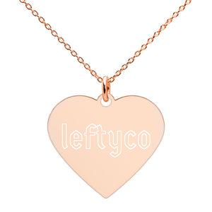 LeftyCo - 727 Engraved Silver Heart Necklace - leftyco