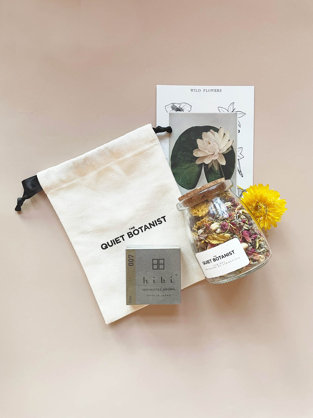 Valentine's Day Gift Set including The Quiet Botanist Edible Flowers and HIbi Incense Matches.