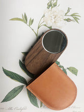 Load image into Gallery viewer, Handmade Walnut & Leather Pocket Mirror