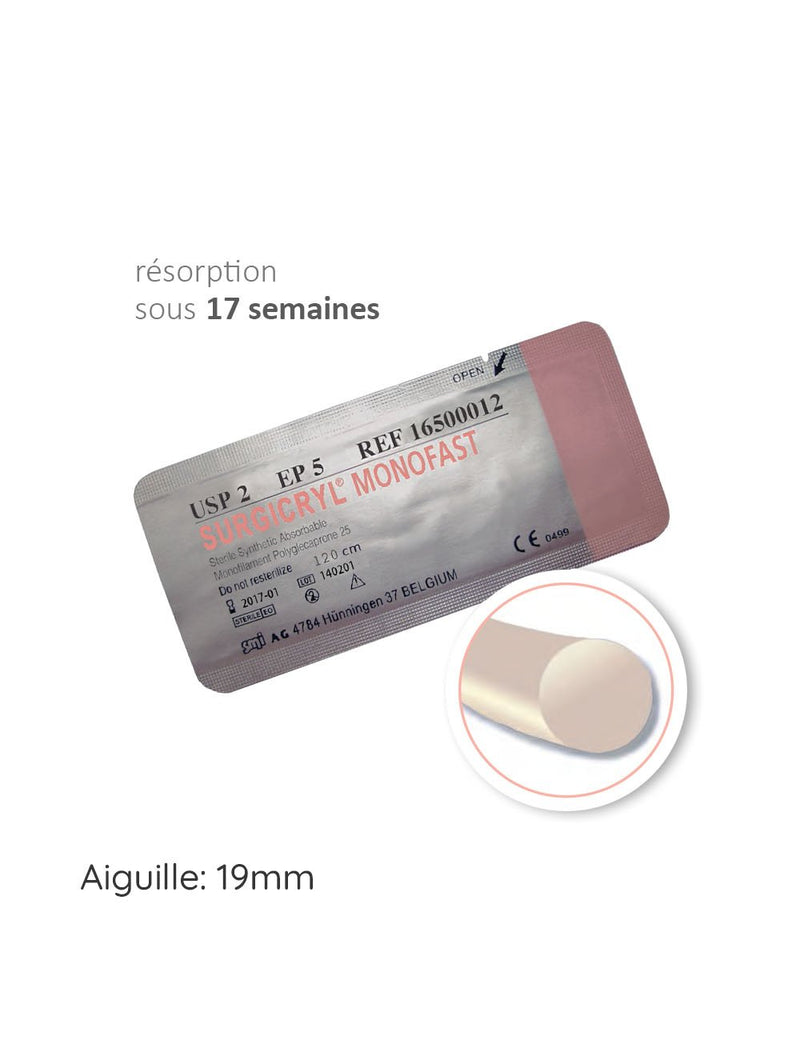 SURGICRYL MONOFAST™ fil de suture 19mm Polyglecaprone 25 - oofti.fr