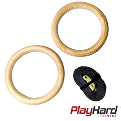 28MM Wooden Gymnastic Rings - PlayHard Fitness