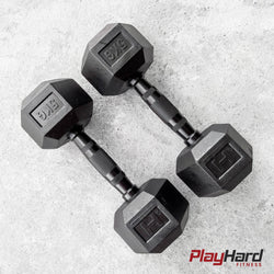 Black Handle Hex Dumbbells - KG (Sold in Pairs) - PlayHard Fitness