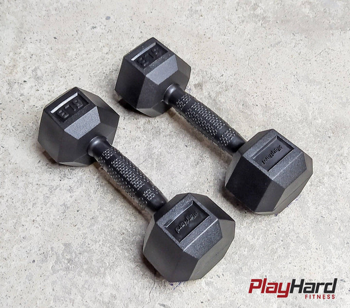 PH Full Rubber Coated Hex Dumbbell Pairs // Black Handles - PlayHard Fitness