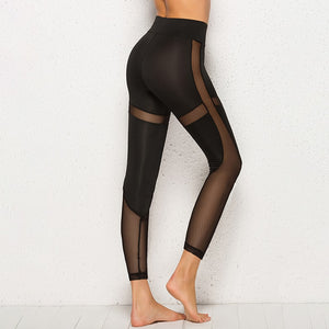 Women Mesh Black Transparent Comfortable Slim Fit Workout Leggings Activewear