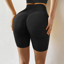 Load image into Gallery viewer, Slim Fit High Waist Yoga Sport Shorts Hip Push Up Women Plain Soft Nylon Fitness Running Shorts Tummy Control Workout Gym Shorts