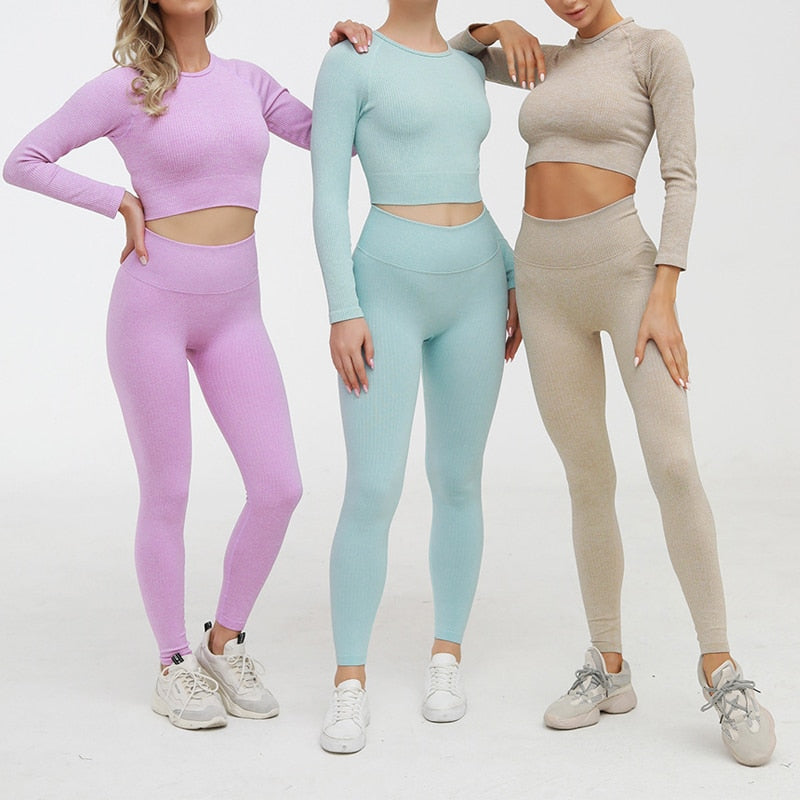 2 Piece Set Women Ribbed Seamless Long Sleeve Yoga Sets Workout Clothes for Women High Waist Sports Legging