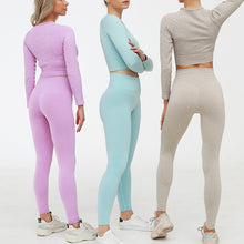 Load image into Gallery viewer, 2 Piece Set Women Ribbed Seamless Long Sleeve Yoga Sets Workout Clothes for Women High Waist Sports Legging