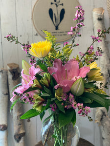 Large Pink Lily Vase - Farm Town Floral & Boutique