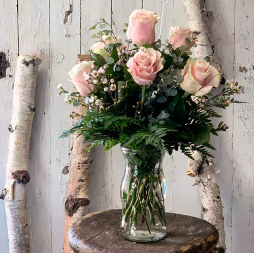 Pink Rose Vase Half Dozen - [product_type