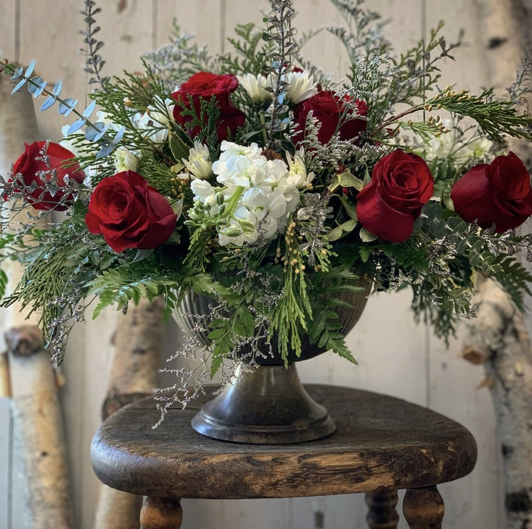 Pedastal Vase Arrangement - Farm Town Floral & Boutique