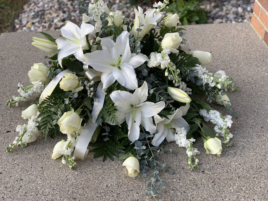 White Casket Spray - Farm Town Floral & Boutique