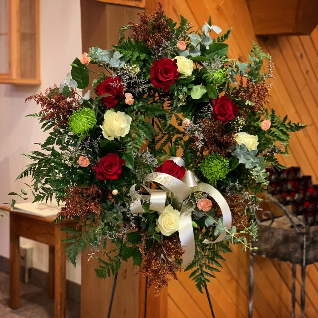 Wreath on stand - Farm Town Floral & Boutique