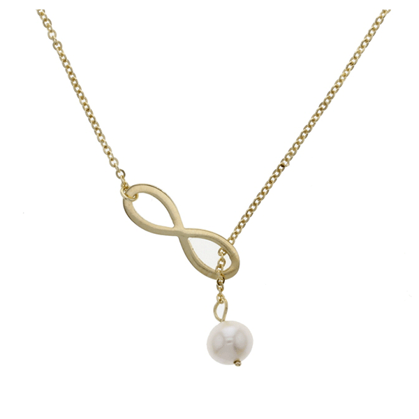 9ct 50cm Pearl Through The Infinity Necklace