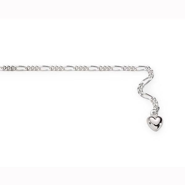 Sterling Silver 1:3 Figaro Link Anklet With Puffed Heart Charm