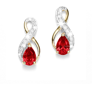 9ct Gold Pear-Shape Created-Ruby And Diamond Infinity Stud Earrings