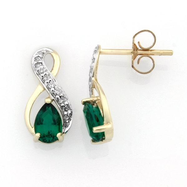 9ct Gold Pear-Shaped Created Emerald And Diamond Infinity Stud Earrings