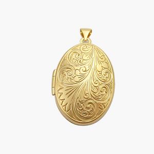 Gold 26mm Oval Scroll Embossed Locket