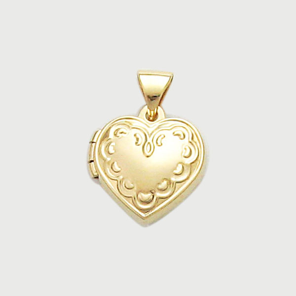 Gold 12mm Heart Shape Locket With Embossed Edge