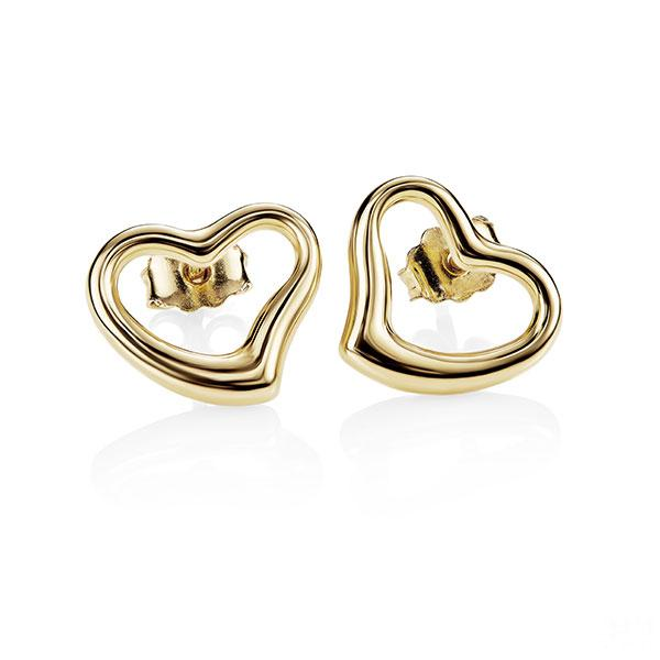 9ct Gold Bonded Silver Polished Open Heart Studs