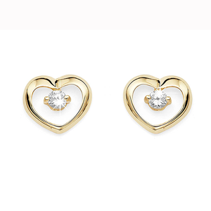 9ct Gold Claw-Set Cubic Zirconia Polished Open Heart Studs