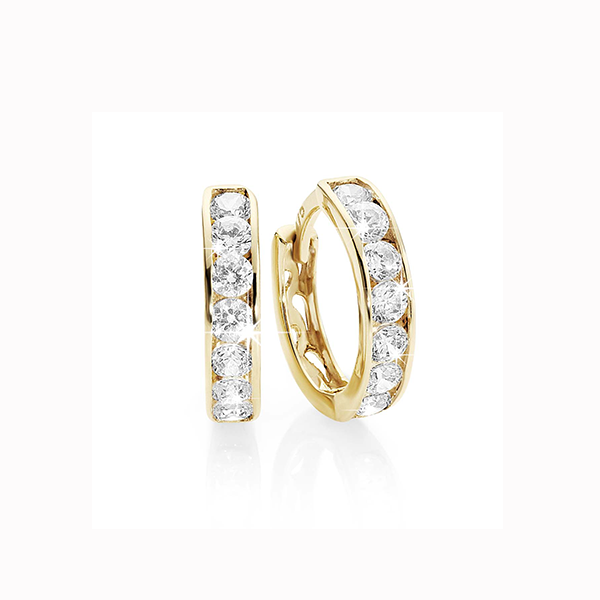 9ct Yellow Gold Channel-Set Cubic Zirconia (CZ) Huggie Earrings. 9mm Internal Diameter