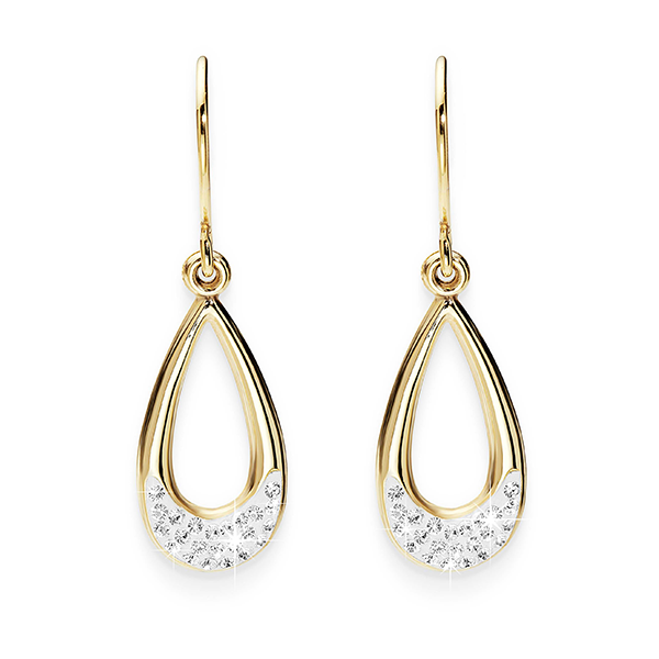 9ct Gold-Bonded Silver Crystal-Encrusted Teardrop Shepherd Hook Earrings