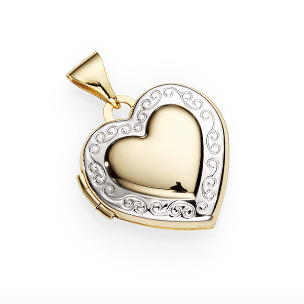 9ct Gold Silver Fusion 15mm EmboSterling Silvered Border Heart Locket