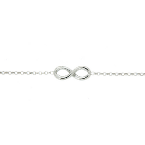 Sterling Silver Polished Infinity Rolo Bracelet With Parrot Beak Clasp