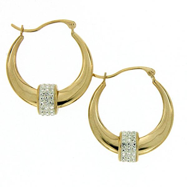 9ct Gold-Bonded Silver Tapered Hoops With Cubic Zirconia Encrusted Feature