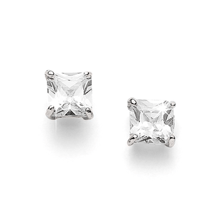 Sterling Silver 8mm Square 4 Claw Set Cubic Zirconia Studs