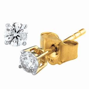 9ct Yellow Gold 4 Claw Diamond Studs (Tdw = 0.25ct Gh P1/2)